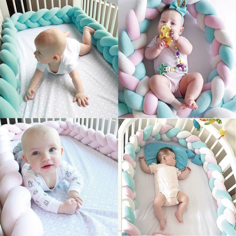 Baby Bed Bumper 200cm 300cm Long Knotted Braided Newborn Cot Crib Fencing Pad Protection Knot Bumpers Bedding Infant Decor 2M/3M