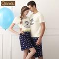 Qianxiu Brand Couple Pajamas Set Summer Short Sleeves Sleeping Clothes Men Pijama Sleepwear Pyjama Homme Lounge Shirt & Shorts