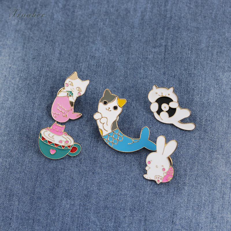 Badges Home & Garden Xinaher 1pc Cartoon Fat Cat Metal Badge Brooch Button Pins Denim Jacket Pin Jewelry Decoration Badge For Clothes Lapel Pins