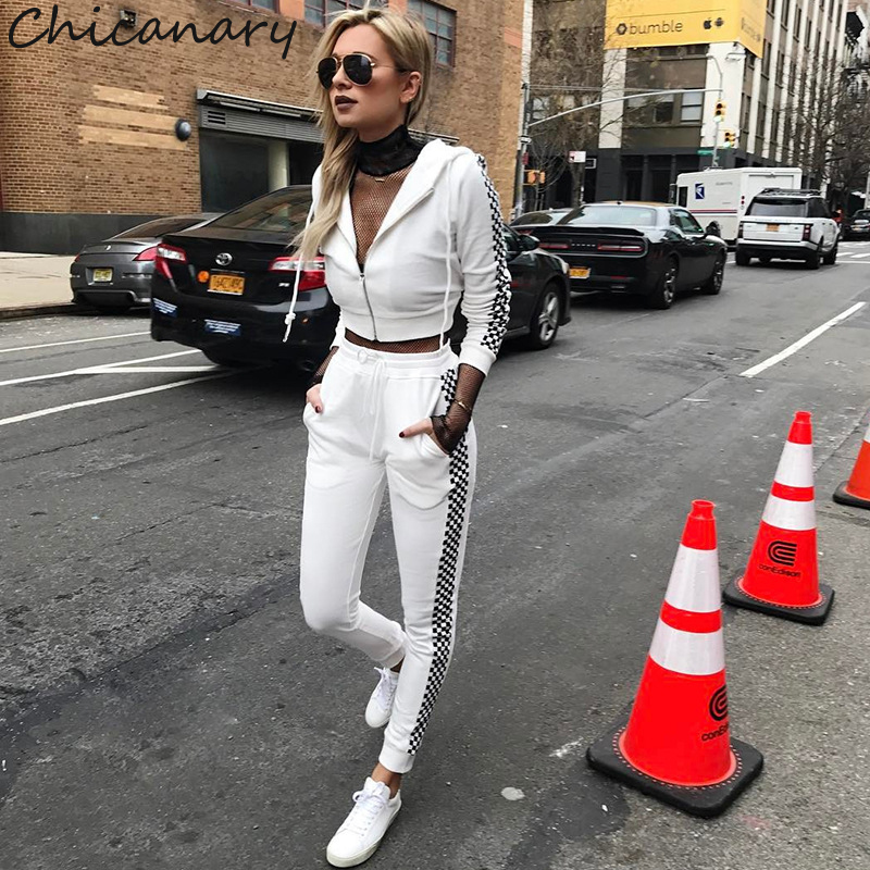 Chicanary Women Joggers Set with Zipper Side Plaid Print White Tracksuit Fall Contrast Color Cropped Tops Pants Sets