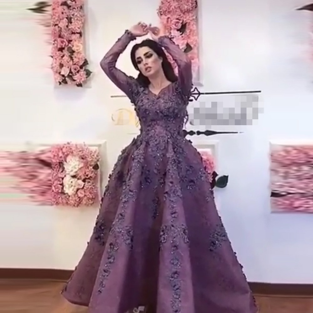 2eba57f84946f Saudi Arabic Purple 3D Flower Evening Dresses With Full Sleeves Lace Floral  Prom Gowns Ankle Length