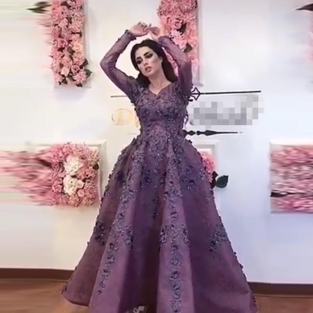 Árabe saudita roxo 3d flor vestidos de noite com mangas completas rendas floral vestidos de baile tornozelo comprimento vestido de festa