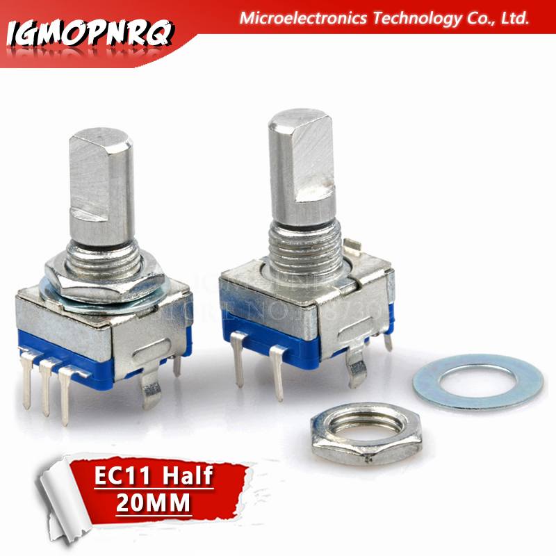 2PCS Half Axis Rotary Encoder, Handle Length 15mm Code Switch/EC11/ Digital Potentiometer With Switch 5Pin