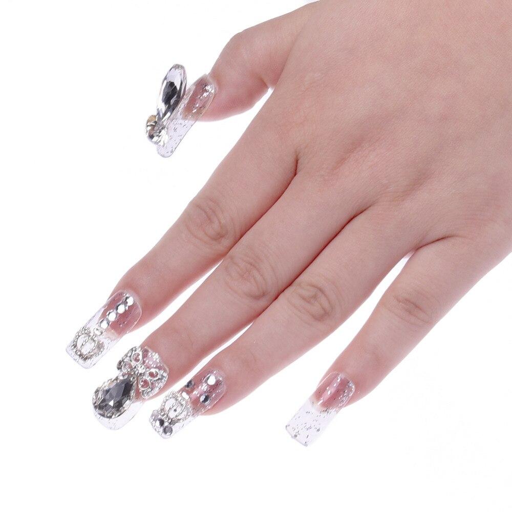 20 Stücke Bling Strass Falsche Nägel mit Designs Braut Nail art ...