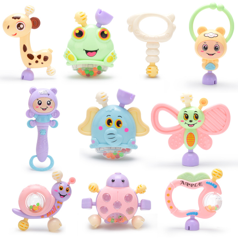 Bavoirsj 6pc-10pc/Set Montessori Toys Teething Kids Educational Crib Mobile Baby Teether Toy For Girls Waldorf Rattle Toy Infant