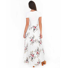 VITIANA Brand Women Vintage long Skirts Summer White Floral Print Elegant Beach Maxi Skirt Boho high waist asymmetrical skirt