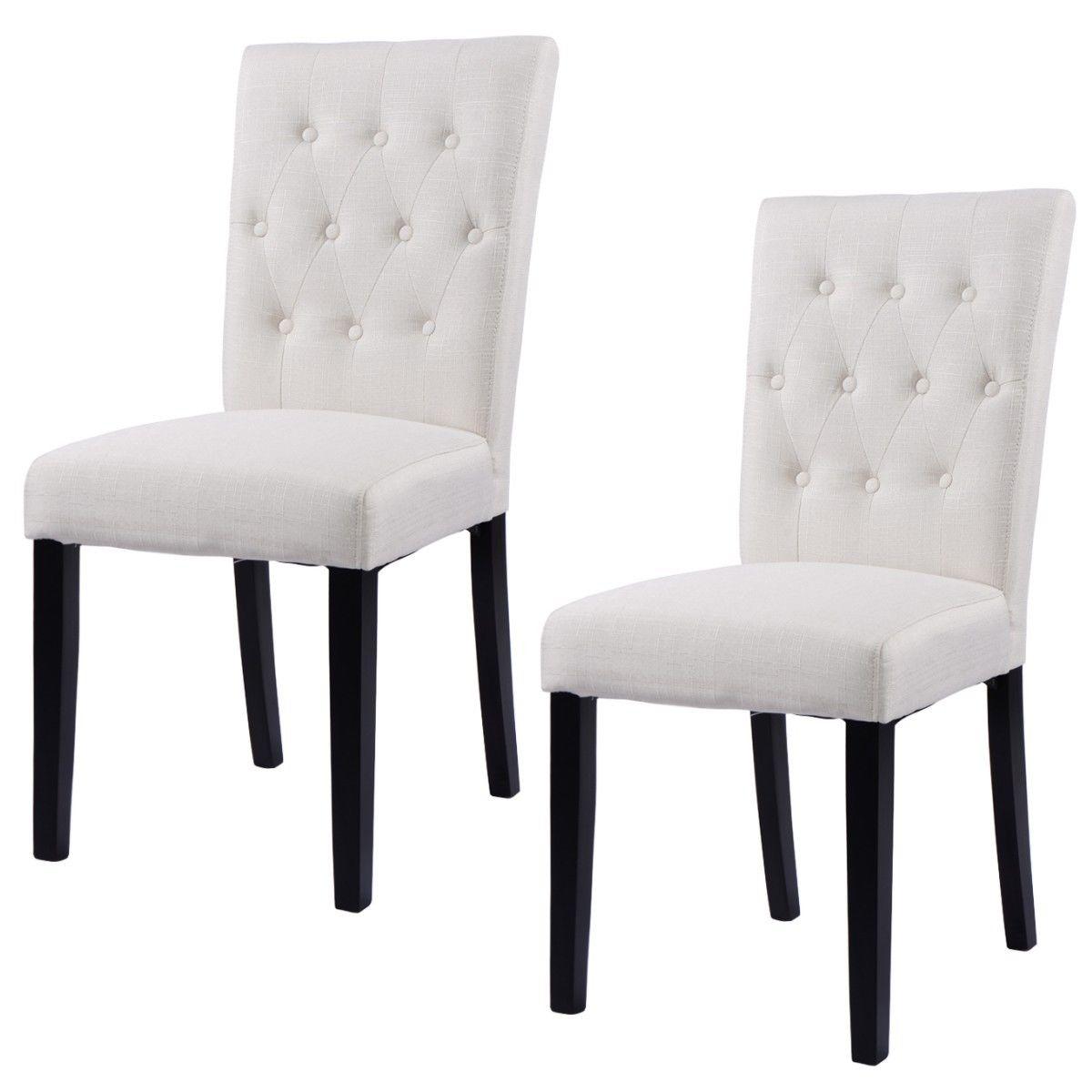 Giantex lot de 2 pièces tissu salle à manger chaise sans bras chaise moderne maison cuisine salon meubles HW52778BE