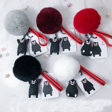 Cartoon Fluffy Rabbit Fur Pom Pom Kumamoto bear Keychain Doll Bell Pompons Key Ring Women Car Purse Key Chain Holder pom pom keychain with bell