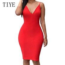 TIYE Lady Open Back Bandage Dress New Arrivals Summer Bodycon V Neck Spaghetti Strap Women Elegant Vestidos Clothing