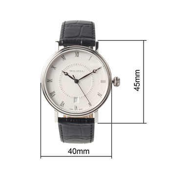 Seagull Roman Numerals Black Hands Auto Date Coin Edge Exhibition Back Black Leather Strap Automatic Men\'s Watch 819.11.6022