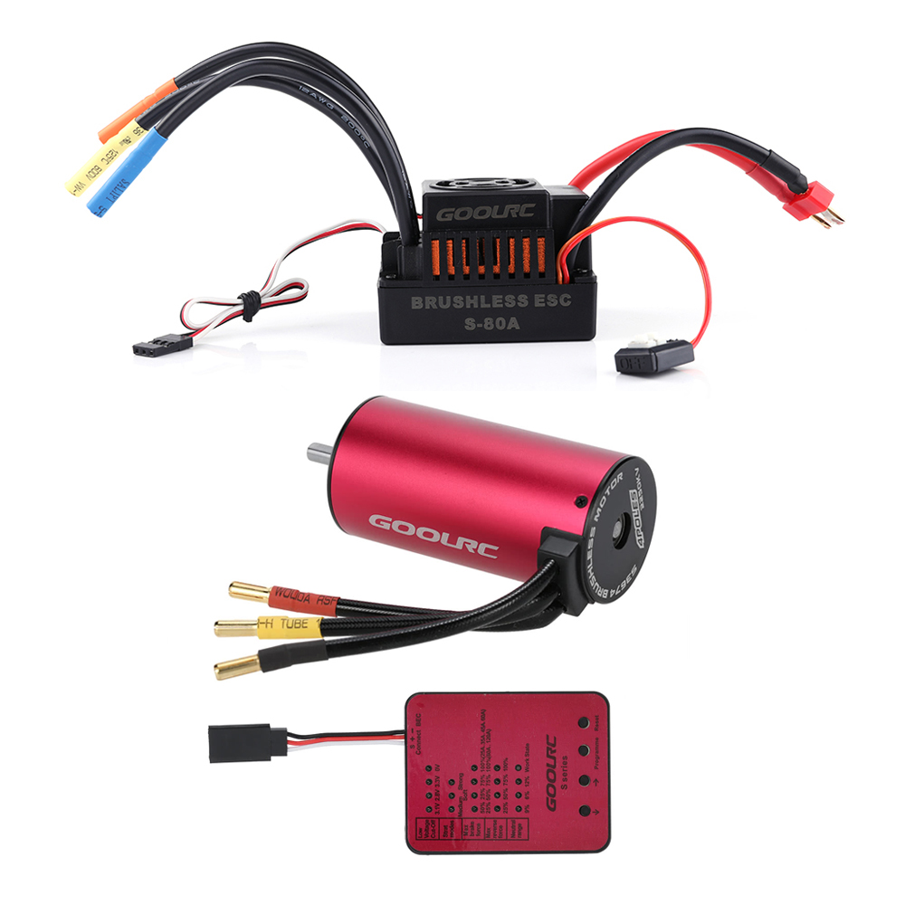 Original GoolRC S3674 2250KV Sensorless Brushless Motor 80A Brushless ESC and Program Card Combo Set for