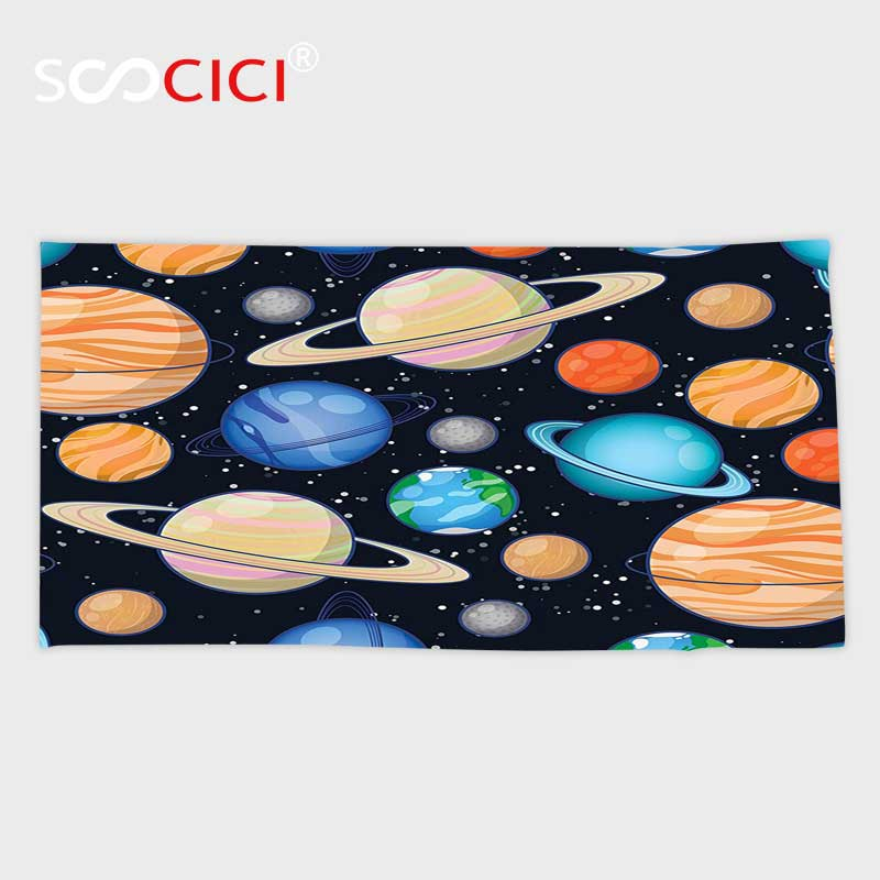 Custom Microfiber Ultra Soft Bath/hand Towel,Galaxy Cute Galaxy Space Art Solar System with Planets Mars Mercury Uranus Jupiter