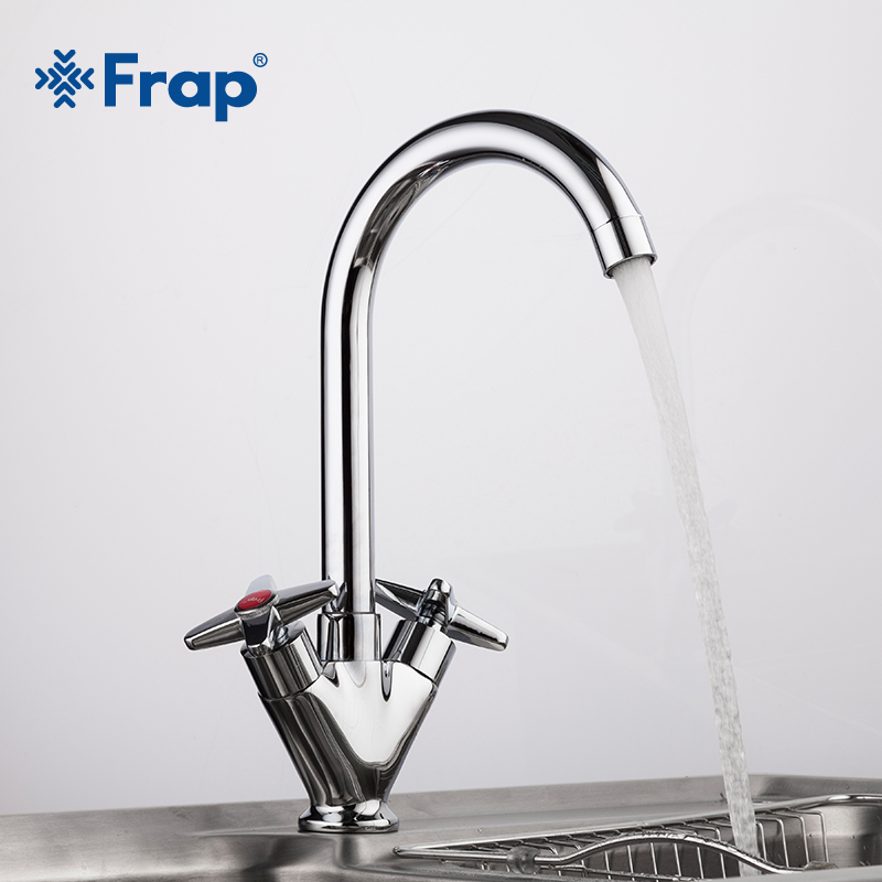 Frap Simple Style Dual Handle Cold And Hot Water Mixer Tap Kitchen Sink Faucet Outlet Pipe Of Gooseneck Design Torneira F4099