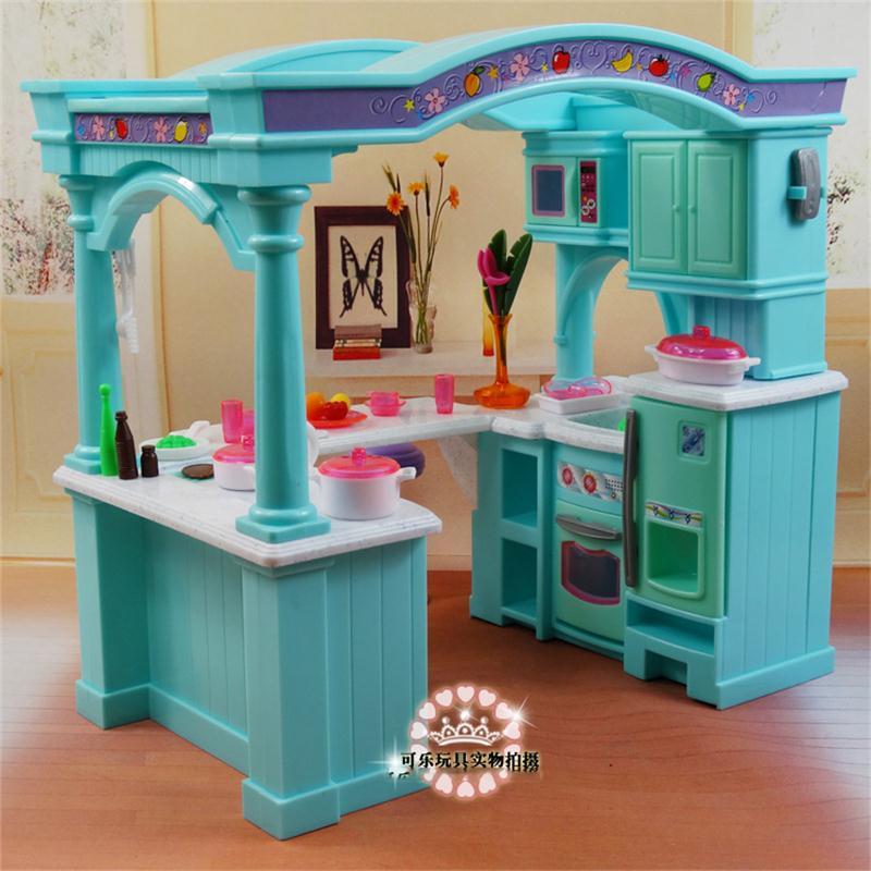 Pour Barbie poupée meubles accessoires en plastique jouet grande cuisine ustensiles de cuisine armoire Vase chaise semblant jouer maison cadeau fille bricolage
