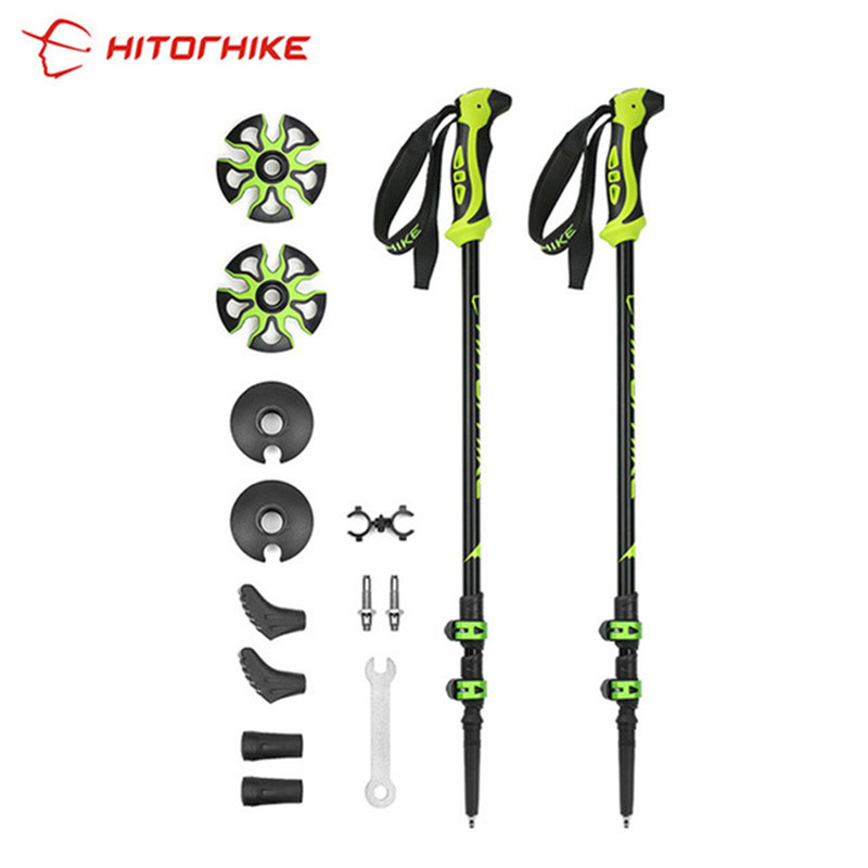 290 g / pz bastoncini da nordic walking Trek Pole Telescopico Alpenstock 7075 lega di alluminio Shooting Crutch Senderismo Walking Stick escursionismo