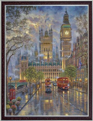 New Cross Stitch Kits 14CT Unprinted Scenery London with Big Ben For Embroidered Handmade Art DMC