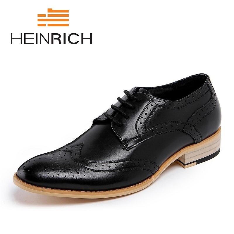 HEINRICH/Официальные мужские туфли; Цвет черный, белый; кожаные туфли с перфорацией типа «броги» с круглым носком для отдыха; деловые модельные