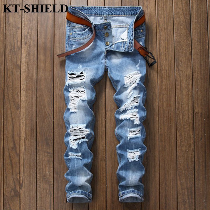 2018 Famous Brand Ripped Jeans Men Casual Biker Jeans Mens Straight Denim Pants Distressed Hip Hop Jeans Men Classical Fashion