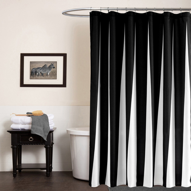 Modern Polyester Shower Curtains Black White Striped Printed
