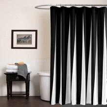 Modern Polyester duş perdeleri siyah beyaz çizgili baskılı su geçirmez kumaş banyo için çevre dostu ev otel kaynağı