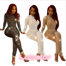 Hot drilling transparent women jumpsuit romper Long sleeve rhinestone bodycon sexy summer leotard Laipelar
