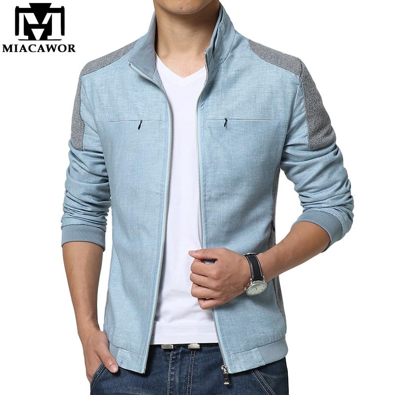 MIACAWOR 2019 New Fashion Men Jacket Spring Autumn Cotton Linen Jaqueta Masculino Casual Men Coats Slim Fit Blouson Homme MJ403