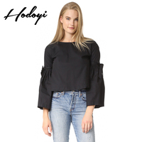 2017 Autumn Fashion Simple Temperament Fold Horn Nine Points Sleeves Back Buttons Hollow Lace Shirt Female