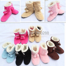 free shipping Women's indoor shoes cute plush 2 balls warm Indoor slippers, Household slippers, Indoor slippers winter warm feet