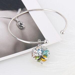 Image 4 - CLUCI 3 pièces rond argent arbre de vie femmes pendentif pour collier fabrication de bijoux 925 en argent Sterling perle pendentif bijoux SC303SB