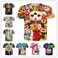 Harajuku t-shirt dos homens / mulheres Lucky Cat / pokemon / silêncio / minha adorável little pony impressão 3d t camisa Plus size S-XXL transporte da gota
