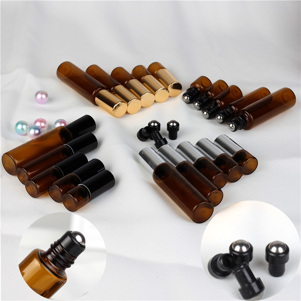 50pcs 1/2/3/5/10ml Amber Glass Essential Oil Perfume Roller Ball Bottle Roll On Vials Travel Cosmetic Aromatherapy Containers