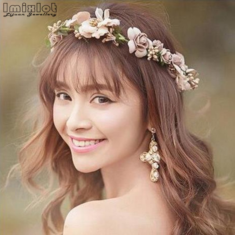Imixlot Crown Flower Headband Tiaras Hair-Accessories Boho Floral Wedding Bridal Girls