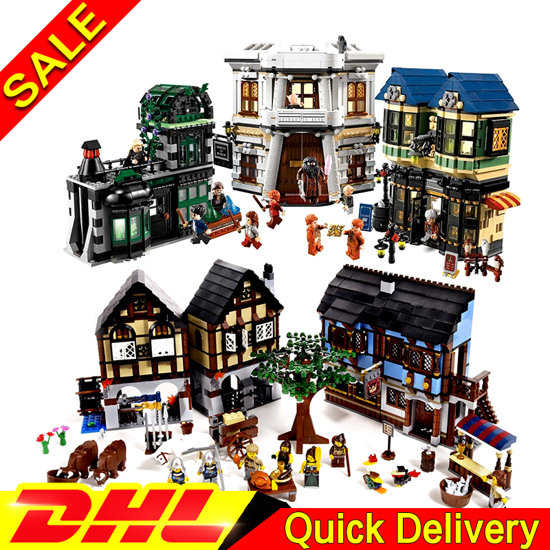LEPIN 16011 Medieval Manor Castle + 16012 Harry Potter The Diagon Alley Model Building Blocks For children Toy Clone 10193 10217 harry potter magical places from the films hogwarts diagon alley and beyond
