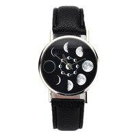 Relogio Feminino Mond Phase Uhr Frauen Lunar Eclipse Muster Leder Band Analog Quarz Armbanduhr Casual Uhren Uhr XB40