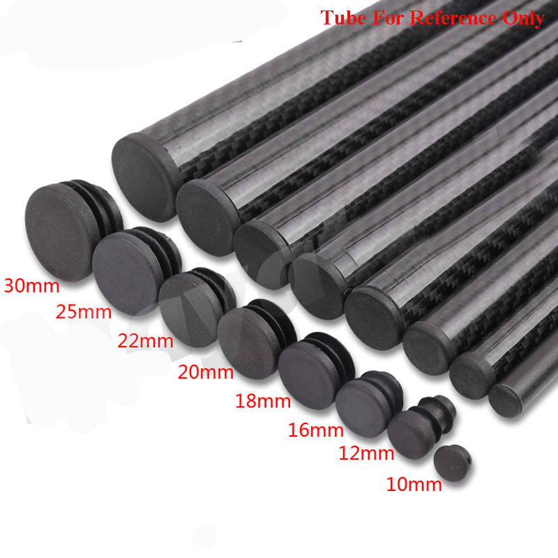 20PCs Carbon Fiber Tube Plug Diameter 10 <font><b>12</b></font> <font><b>16</b></font> 18 20 22 25 30mm Inner Sleeve Stuffy Head Cover Cap Dust For RC Quadcopter A image