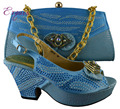 Turquoise blue color very bright shining shoes matching bags in women's pumps  Sky blue B8010 size 38-42