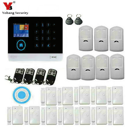 YobangSecurity Wireless Wifi Gsm RFID Home Security Alarm System Kit with Wireless Strobe Siren PIR Motion Door Sensor yobangsecurity wireless wifi gsm home security alarm system with auto dial wireless siren smoke detector door pir motion sensor
