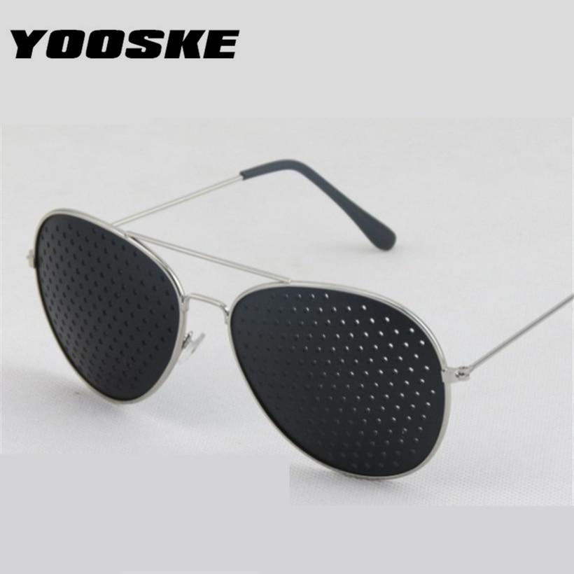 YOOSKE Retro Pinhole Sunglasses for Women Men Small Holes Eyeglasses Vision Care Glasses Unisex Eyesight Improver Glasses