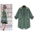 Mulheres plus size xadrez verde blusas de impressão high street turn para baixo gola de manga comprida de volta carta camisa impressão ocasional solto topos