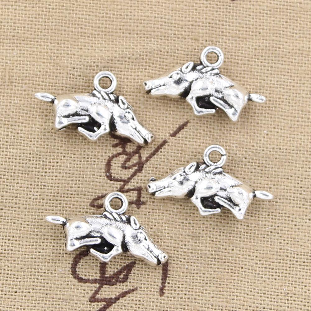 10pcs Bat Beads Tibetan Silver Charms Animal Pendant DIY Bracelet 24*15mm