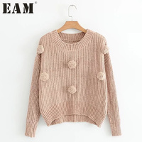 EAM 2017 Autumn Winter New Pattern Pompon Decoration Long Sleeve Pullover Sweater Loose Fashion Casual