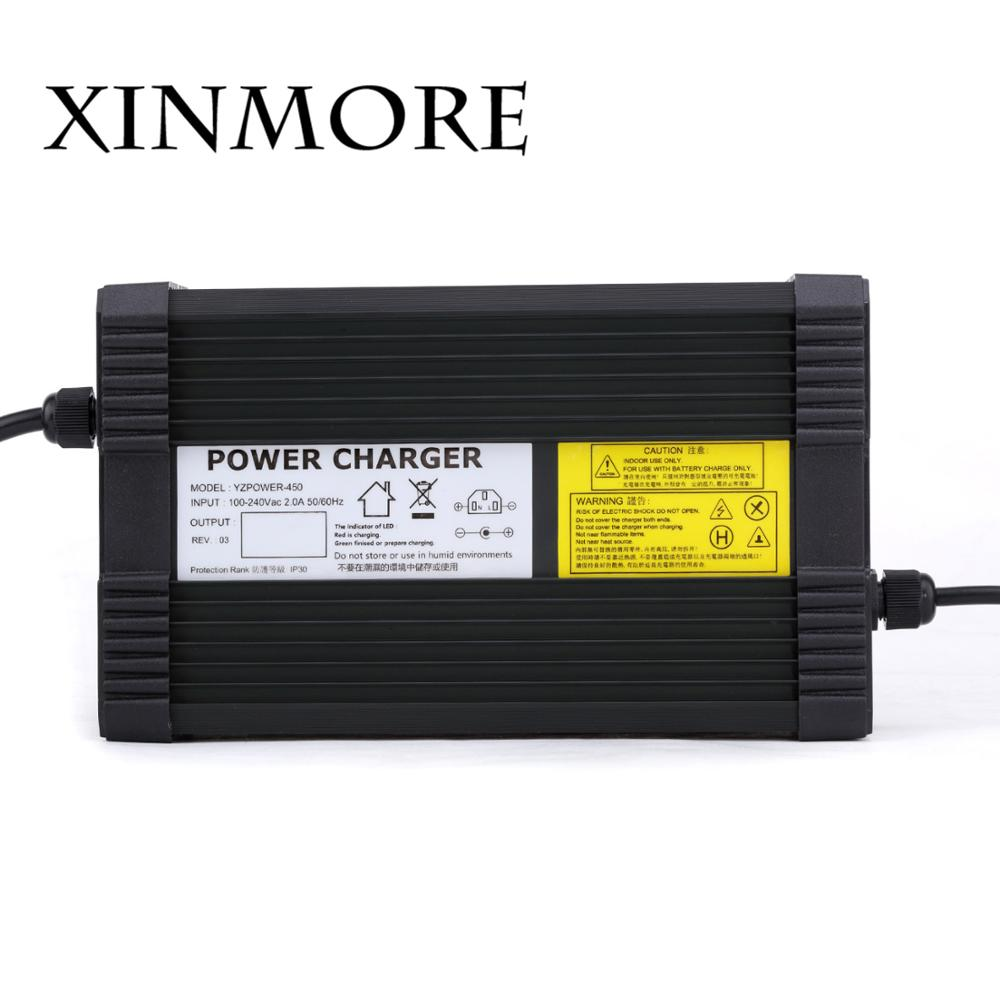 XINMORE AC-DC 29.2V 14A 13A 12A Lifepo4 lithium Battery Charger for 24V Power Polymer Scooter Ebike for Speaker & CD Player xinmore ac dc 58 8v 8a 7a 6a lithium battery charger for 48v 51 8v li ion polymer scooter ebike for electric bicycle