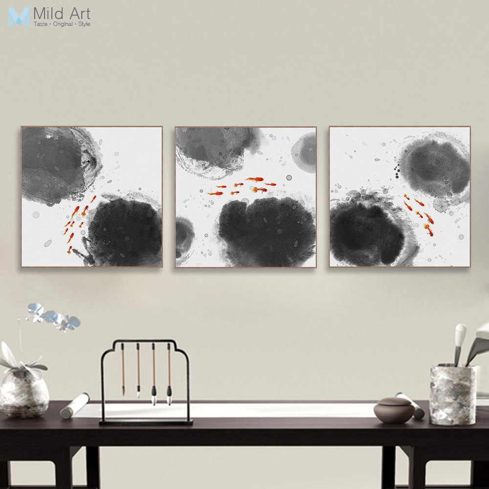 Big Canvas Art Modern Watercolor Abstract Ink Splash Big: Modern Abstract Oriental Chinese Ink Fish Canvas Print
