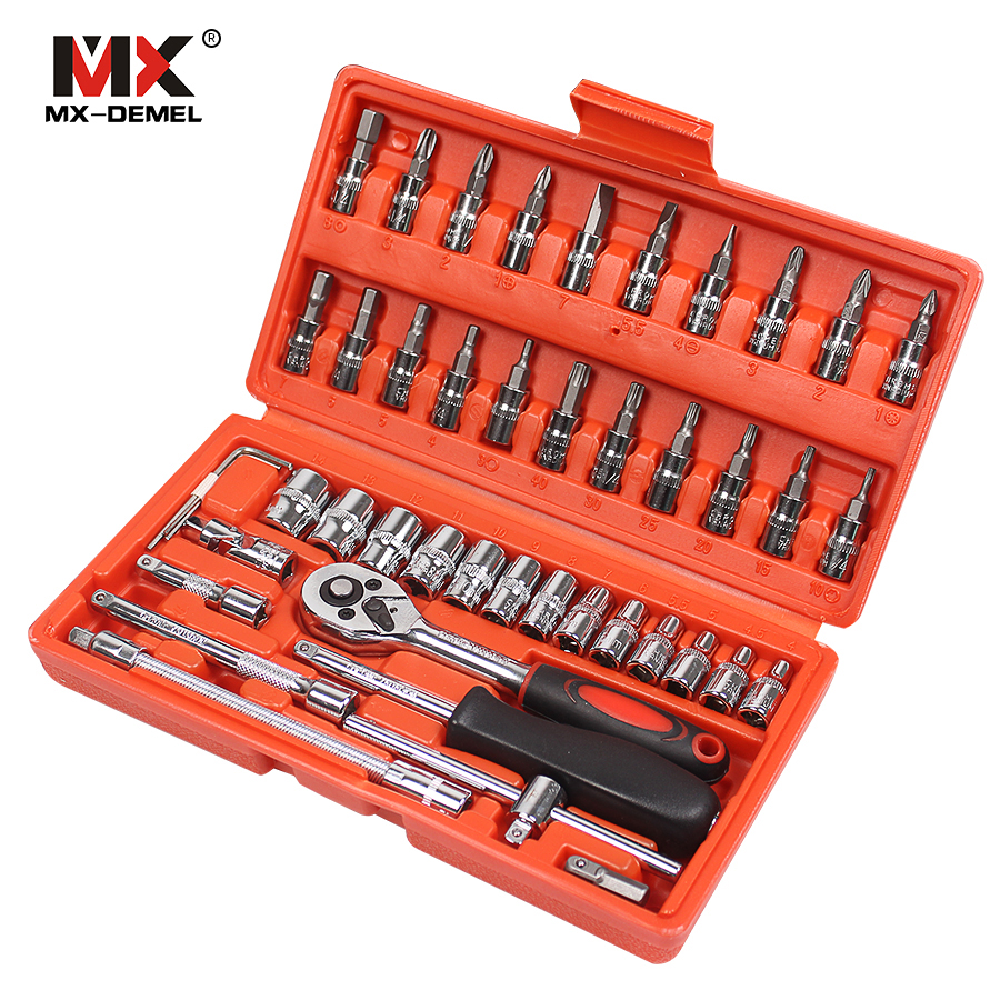 MX-DEMEL Car Repair Tool 46pcs 1/4-Inch Socket Set Car Repair Tool Ratchet Torque Wrench Combo Tools Kit Auto Repairing Tool Set mainpoint 1 4 1 2 3 8 e socket sockets set cr v torx star bit combination drive socket nuts set for auto car repair hand tool