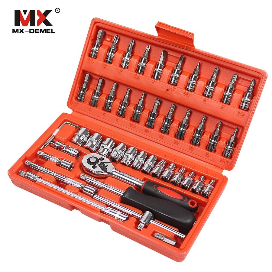 MX-DEMEL Car Repair Tool 46pcs 1/4-Inch Socket Set Car Repair Tool Ratchet Torque Wrench Combo Tools Kit Auto Repairing Tool Set