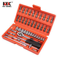 MX-DEMEL Car Repair Tool 46pcs 1/4-Inch Socket Set Car Repair Tool Ratchet Torque Wrench Combo Tools Kit Auto Repairing Tool Set