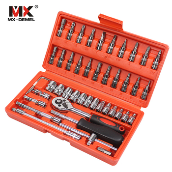 MX-DEMEL herramienta de reparación de automóviles 46 piezas Juego de enchufe de 1/4 pulgadas herramienta de reparación de coche llave de Torque Juego de Herramientas Combo juego de herramientas de reparación automática