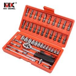MX-DEMEL herramienta de reparación de coches 46 Uds. Juego de enchufes de 1/4 pulgadas herramienta de reparación de coches llave de Torque de trinquete Kit de herramientas Combo juego de herramientas de reparación automática