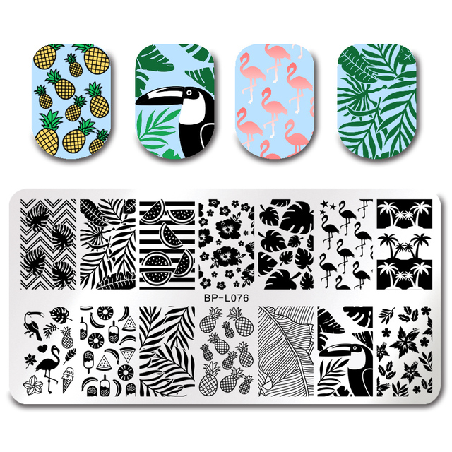 BORN PRETTY Summer Flamingo Pattern Nail Stamping Template Summer Fruit Leaf Image Rectangle Nail Art Stamp Plate