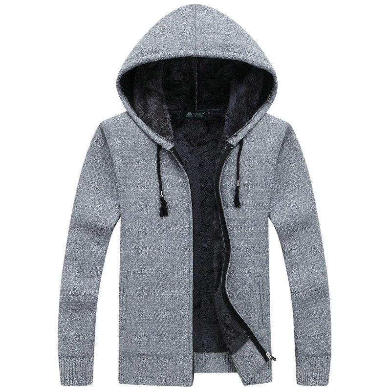 Autumn Winter Thick Warm Knitted Sweater Men Hooded Casual Solid Cardigan Men Fashion Mens Sweatercoat